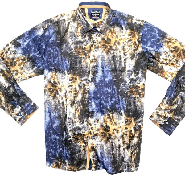 Barabas Cosmo Gold Currents Button Up Shirt