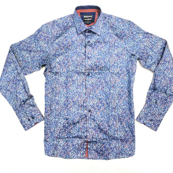 Barabas Blue Pebble Grain Button Up Shirt