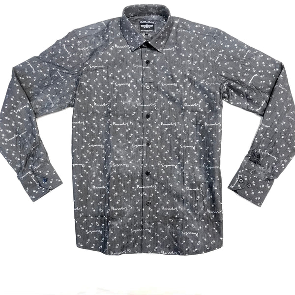 Barabas Denim Liquid Silver Button Up Shirt