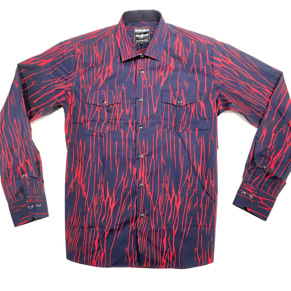 Barabas Navy Red Thunder Blot Button Up Shirt - Dudes Boutique