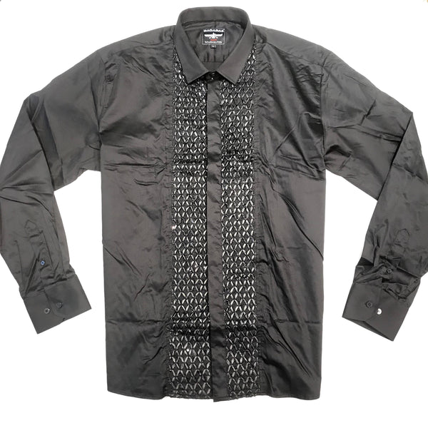 Barabas Black Leather Sequin Quilted Button Up Shirt