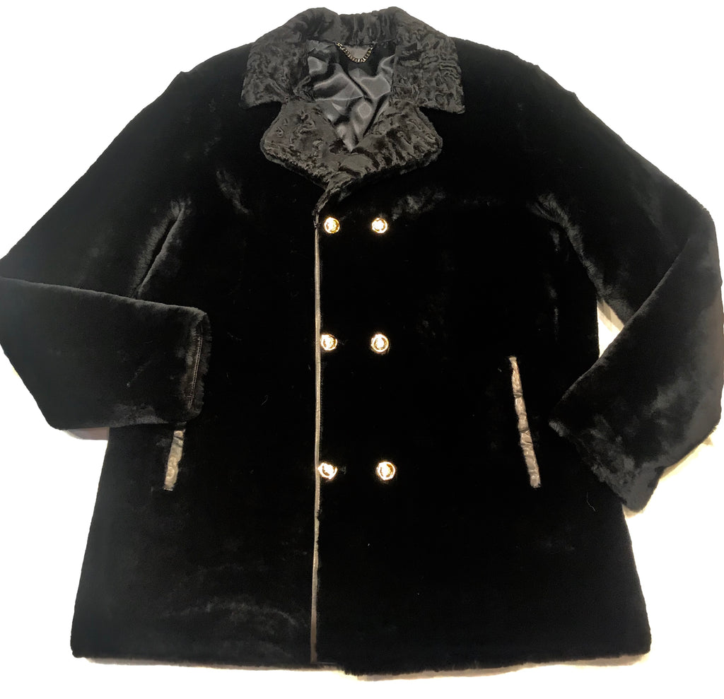 Kashani Black Persian Lambskin Peacoat Shearling