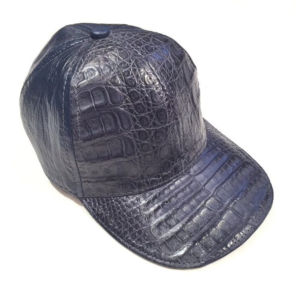 Safari Navy Alligator/Ostrich Quill Strap back Hat