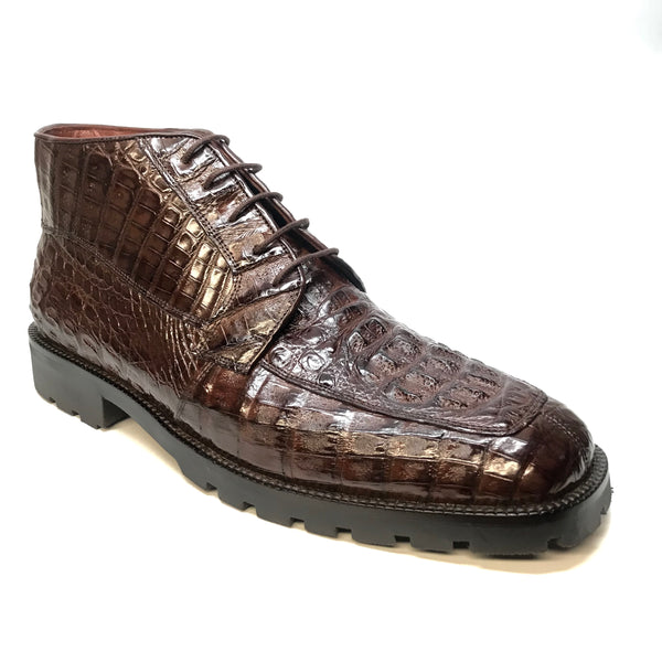 Los Altos Brown Hornback Crocodile Ankle Boots