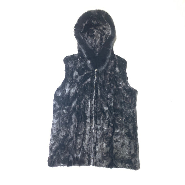 Kashani Men's Black Diamond Cut Mink Fur Fox Hooded Vest - Dudes Boutique