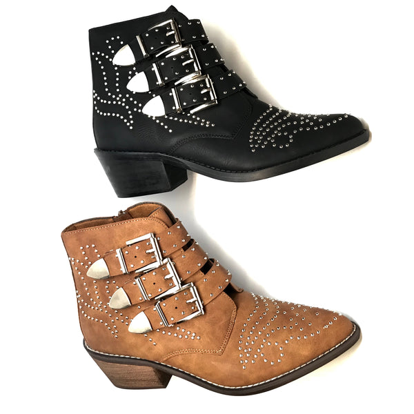 Ninety Union Studded 'Outdoor' Triple Buckle Ankle Boots
