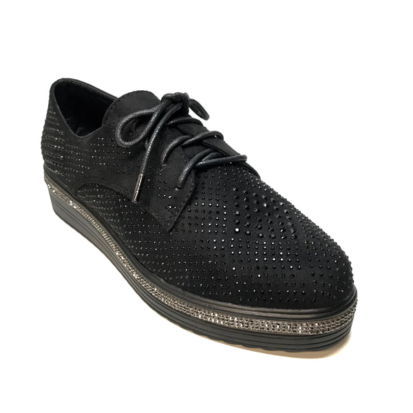 Italina Fully Loaded Crystal Lace Up Espadrilles