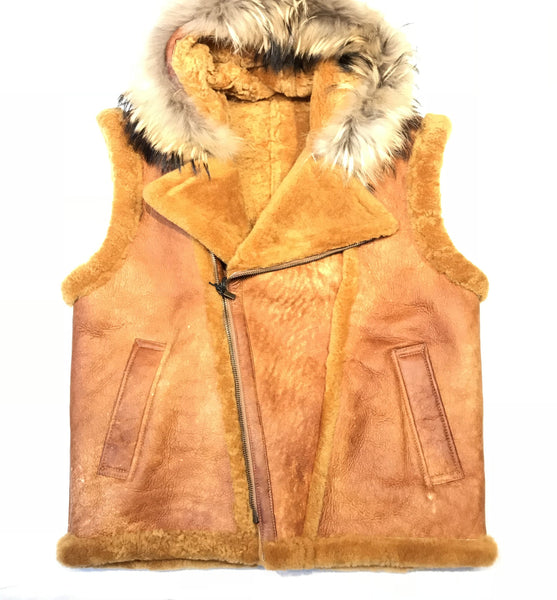Kashani Honey Comb  Fox Fur Shearling Vest