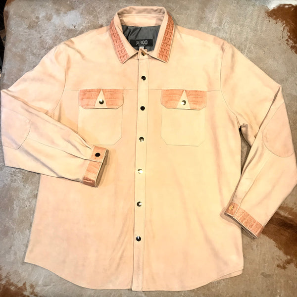 Kashani Peach Alligator Suede Leather Shirt