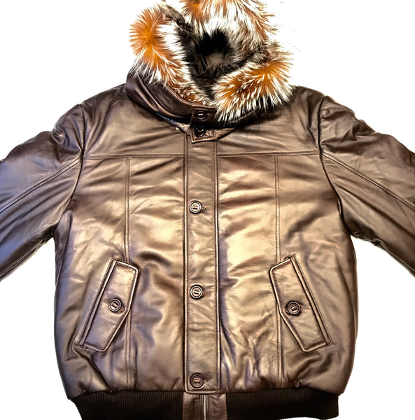 Kashani Brown Fox Fur Lamb Skin Parka Jacket