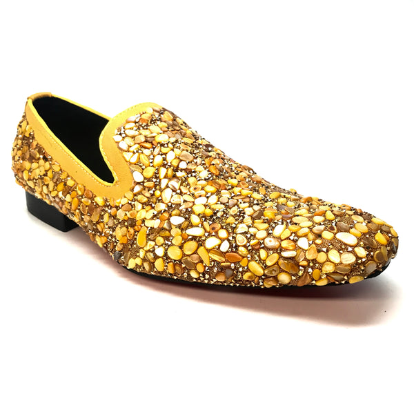 Fiesso Golden Yellow Rock Pebble Grain Loafers
