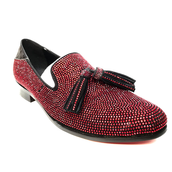 Fiesso Red Crystal Fully Loaded Tassel Loafers - Dudes Boutique
