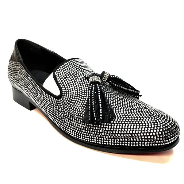 Fiesso Crystal Fully Loaded Tassel Loafers
