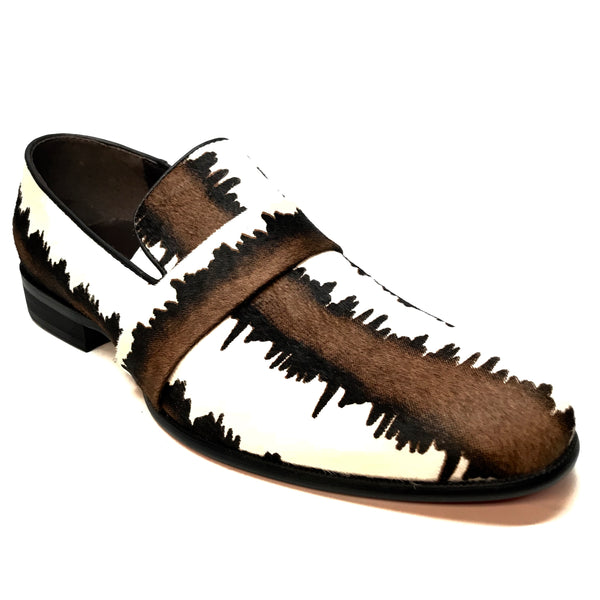 Fiesso Pony Hair Two Tone Derby Loafers - Dudes Boutique