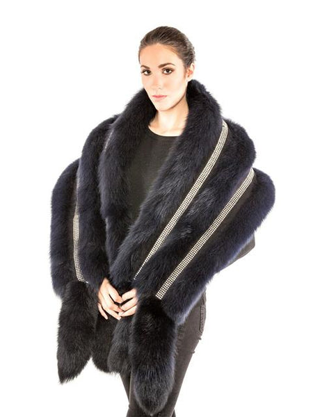 Volare Fox shawl with Swarovski Crystals and Fox tail - Dudes Boutique
