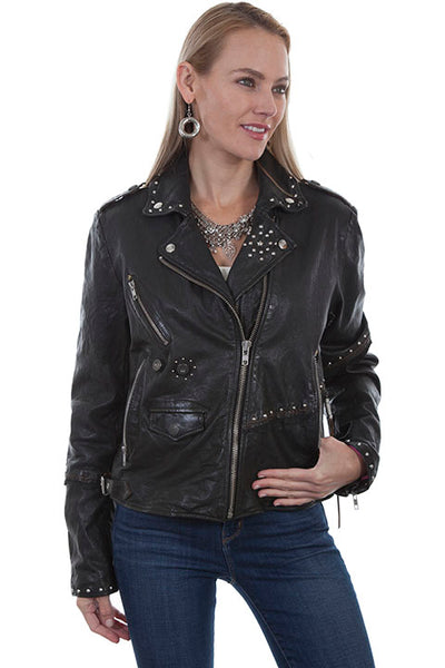 Scully Ladies  Studded Lambskin Biker Jacket - Dudes Boutique