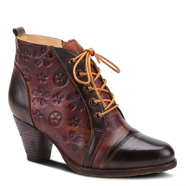 L'ARTISTE Olive Multi Hand-Painted Embossed Leather Lace-Up Bootie - Dudes Boutique