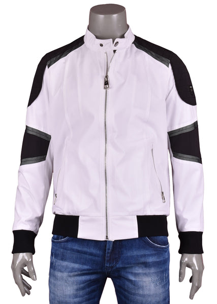 Mondo White Moto Racing Bomber Jacket - Dudes Boutique