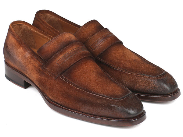 Paul Parkman Brown Antique Suede Goodyear Welted Loafers - Dudes Boutique