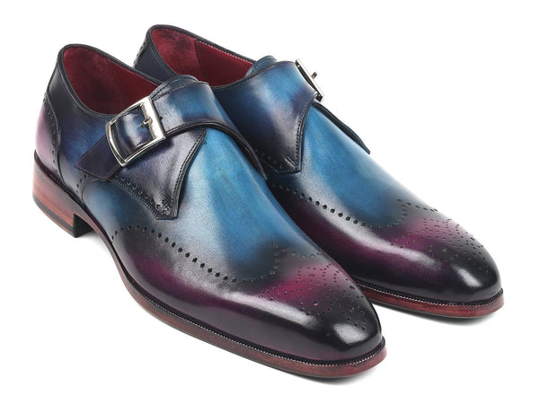 Paul Parkman Single Monkstraps Blue & Purple