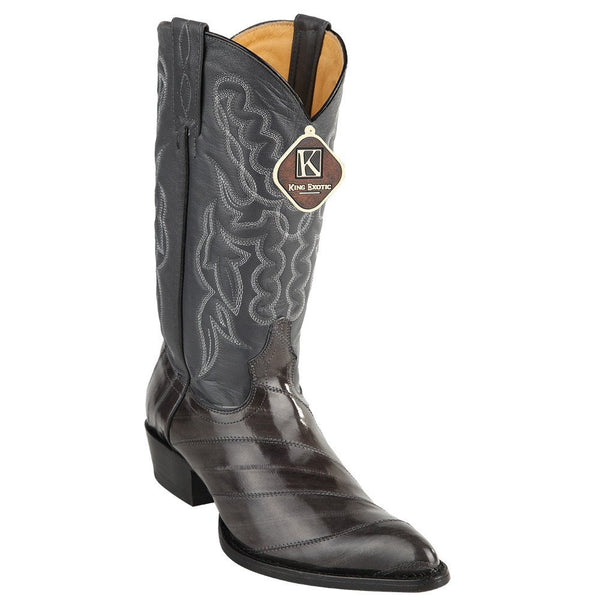 King Exotic Men's Gray Eel Skin Cowboy Boots