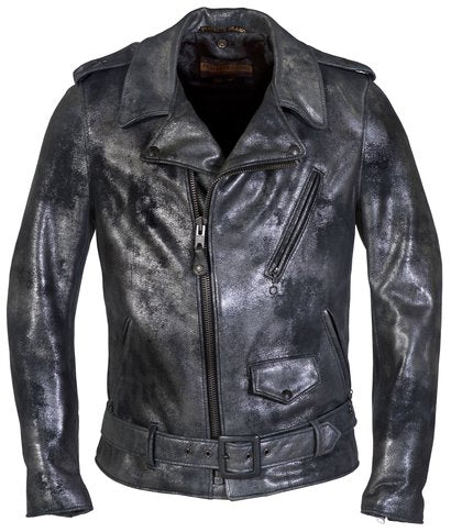 Schott P633 Gun Metal Cowhide Leather Biker Jacket