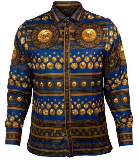 Prestige Navy Royal Coin Button Up Shirt
