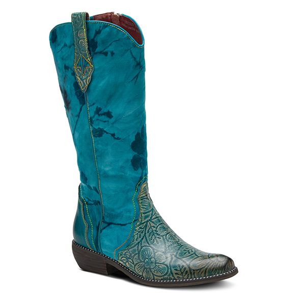 L'ARTISTE Ladies Floral Turquoise Leather Zipper Calf Boots