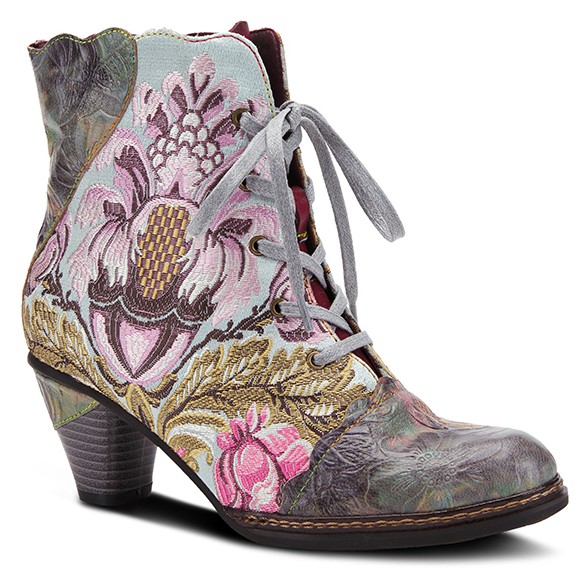 L'ARTISTE Mint Green Floral Embroidered Lace Up Ankle Boots