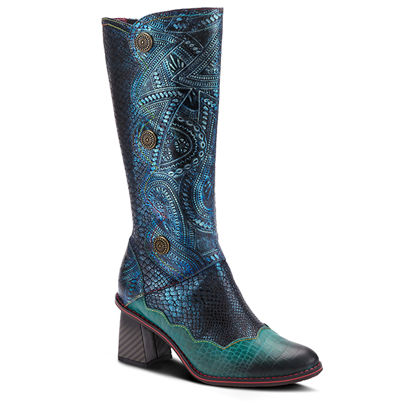 L'ARTISTE Ladies Teal Multi Croco Zipper Calf Boots