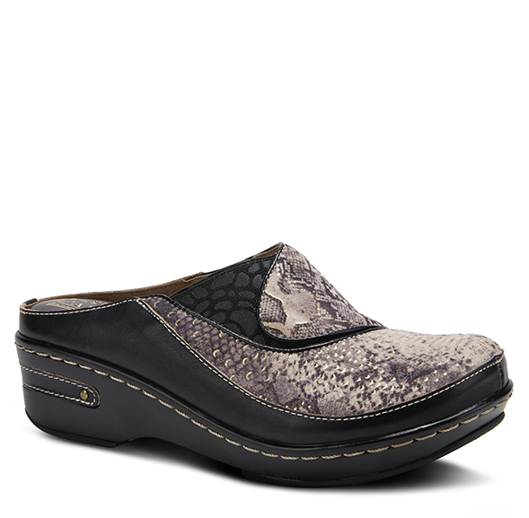 L'ARTISTE Ladies Black Leather Slip-On Clog