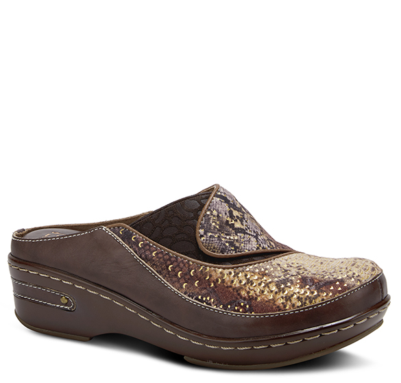 L'ARTISTE Ladies Chocolate Brown Leather Slip-On Clog - Dudes Boutique