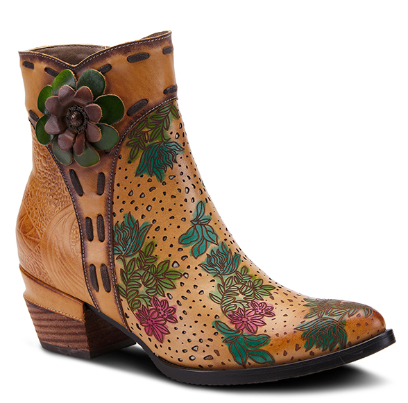 L'ARTISTE Multi Color Embellished Flower Leather Ankle Boots