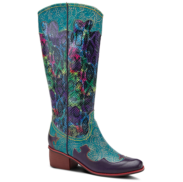 L'ARTISTE Turquoise Multi Color Python Western Boots