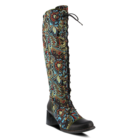 L'ARTISTE Black Multi-Color Floral Jacquard Lace-Up Tall Boots