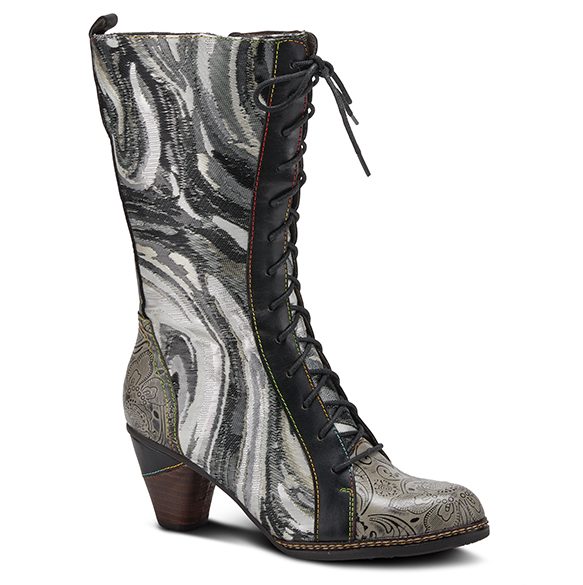 L'ARTISTE Black/Grey Embossed Lace-Up Calf Boots