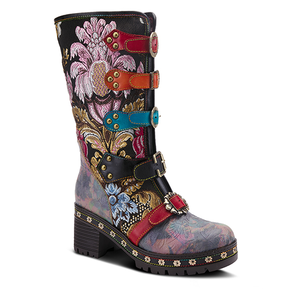 L'ARTISTE Black Multi-Color Embroidered Floral Buckle Strap Boots