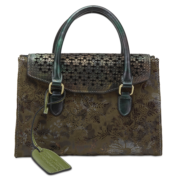L'ARTISTE Ladies Olive Multi Sued Hand Bag