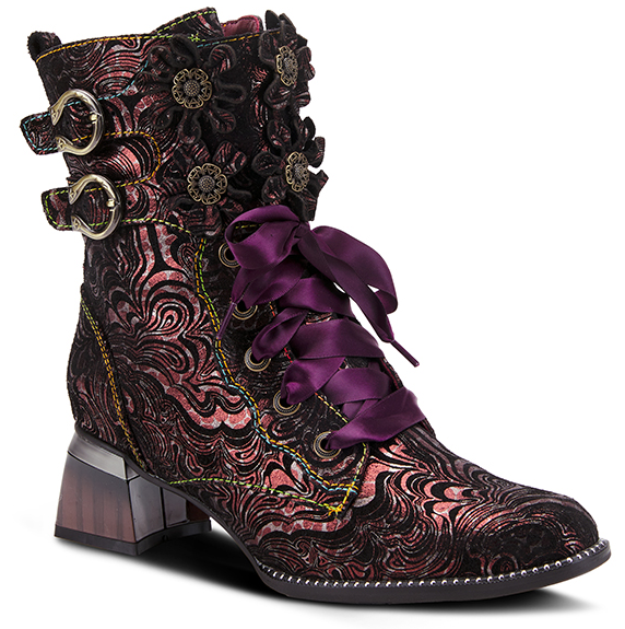L'ARTISTE Red Purple Suede Lace Up Ankle Buckling Boots