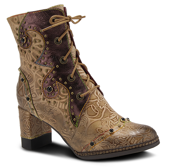 L'ARTISTE Brown Multi Crystal Abstract Floral Lace Up Ankle Boots
