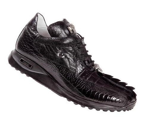 "Mauri ""Gatorland"" 8605 Black Aligator Tail/Ostrich Leg with Eye Sneaker - Dudes Boutique"