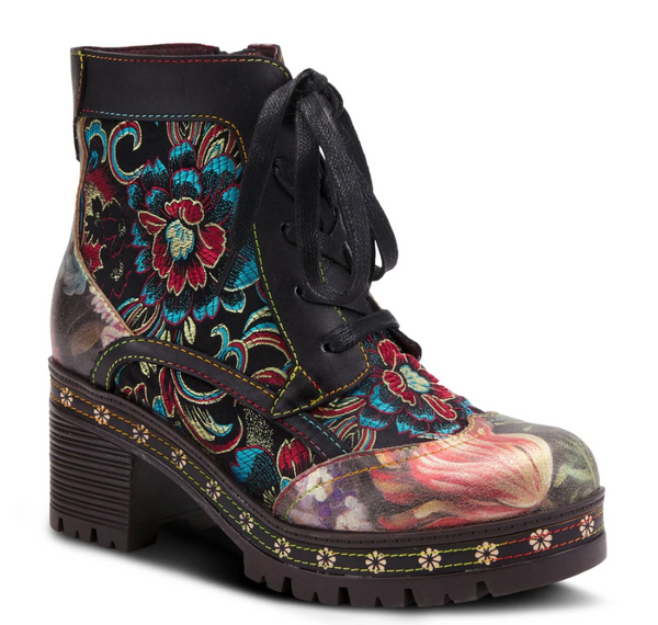 L'ARTISTE Black Multi-Color Embroidered Floral Lace Up Boots - Dudes Boutique