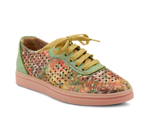 L'ARTISTE ORANGE MULTI TENNIFUN LACE-UP SHOE - Dudes Boutique