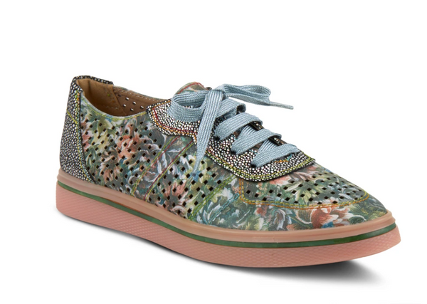 L'ARTISTE GREEN MULTI TENNIFUN LACE-UP SHOE - Dudes Boutique