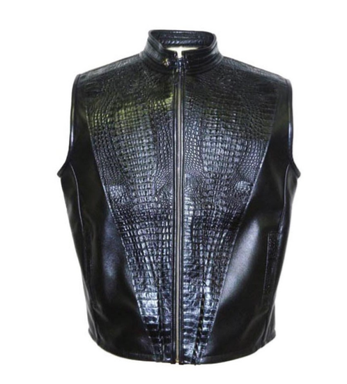 G-Gator - 908 Black Lambskin/Alligator Vest - Dudes Boutique