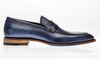 Jose Real Vitelo Deep Blue Leather Penny Loafers - Dudes Boutique