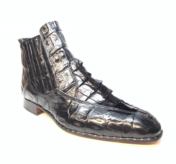 Mauri 4880 Charcoal Grey Genuine Baby Crocodile / Hornback Tail Hand Painted Boots - Dudes Boutique