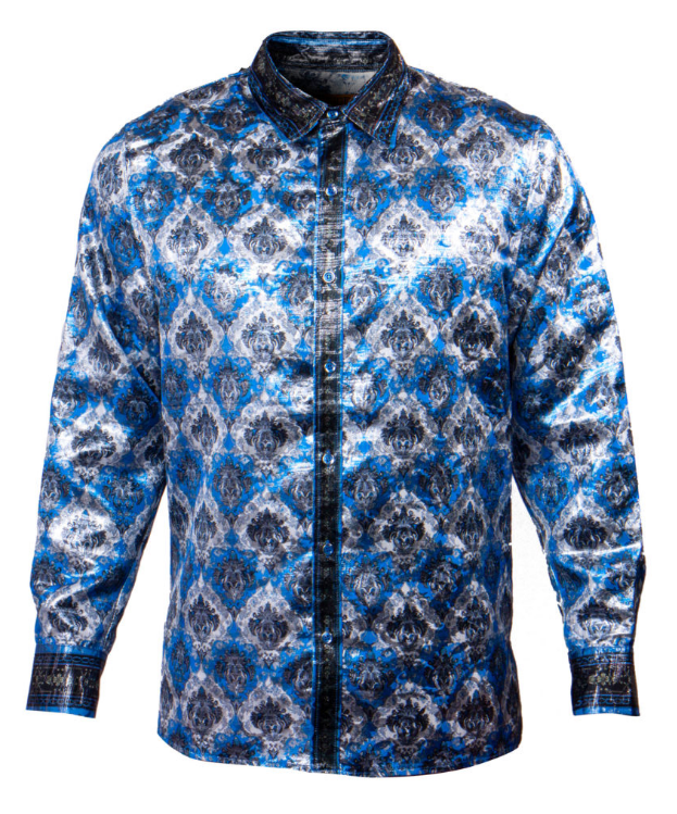 Public Denim Men's Blue Hierarchy Shine Button Up Shirt