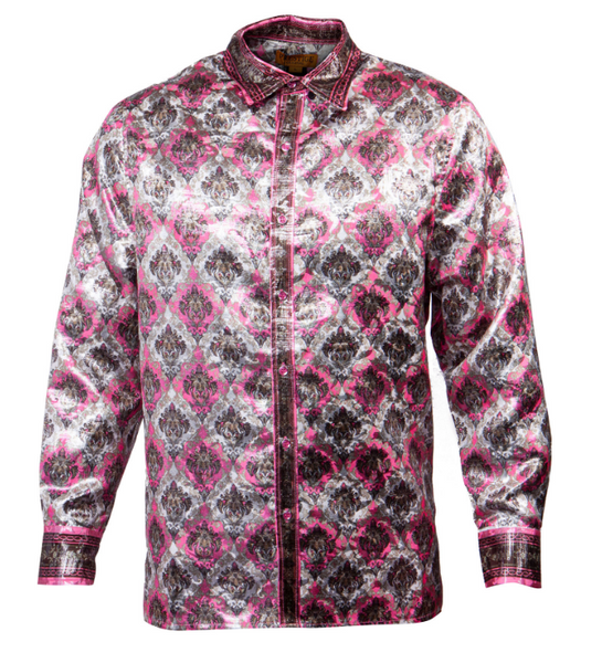 Public Denim Men's Rosé Hierarchy Shine Button Up Shirt