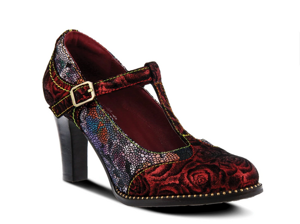 L'ARTISTE Ladies Bordeaux Multi Maize Pump